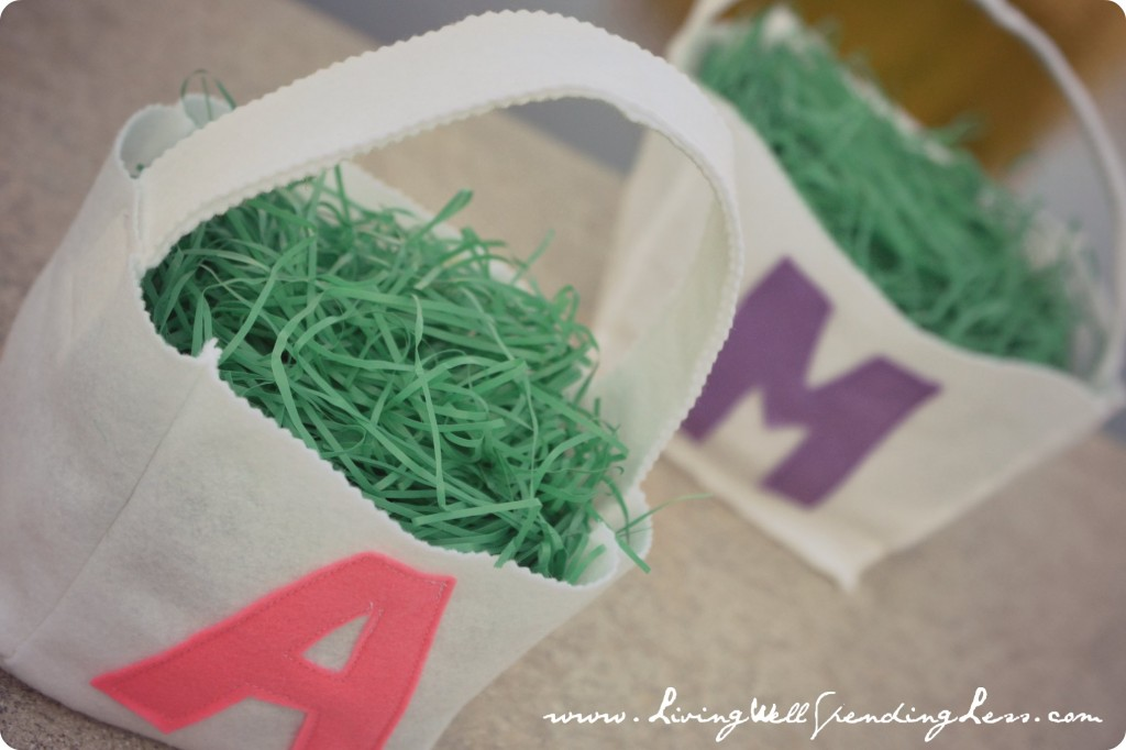 Once felt Easter baskets are finished, begin filling them with decoration.