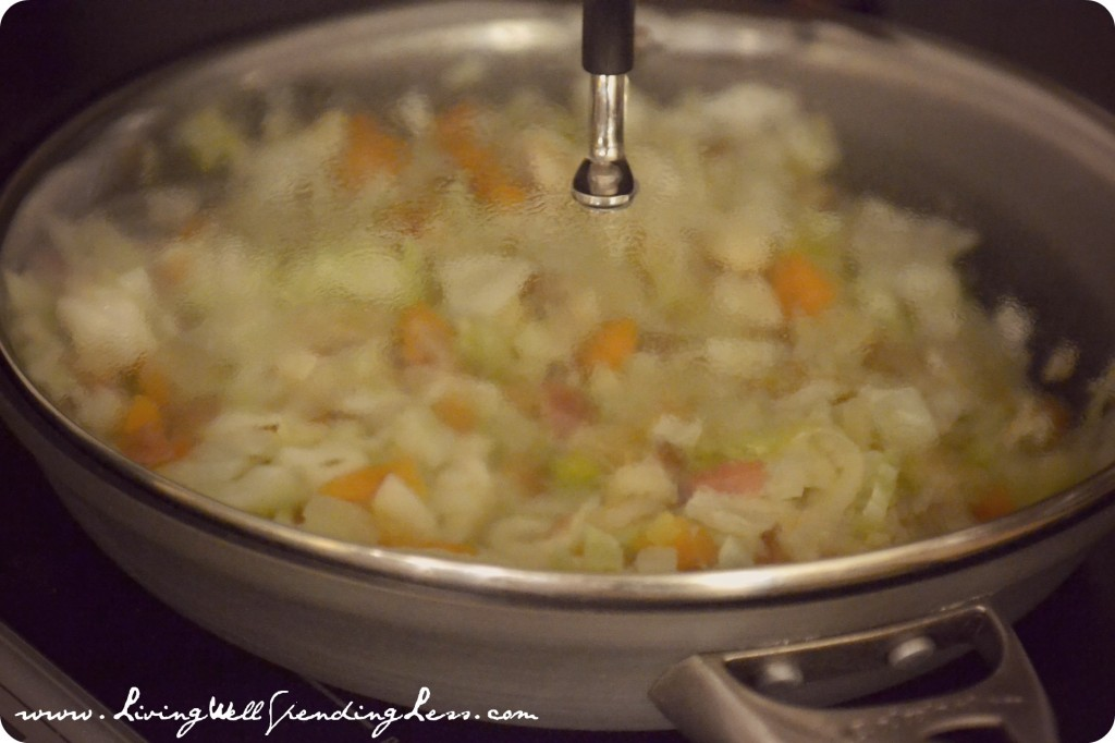Saute onions, green onions and leeks in pan until tender