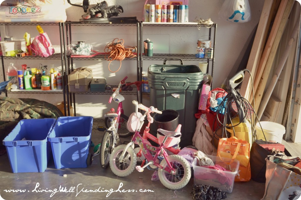 The garage is everyone's favorite spot for clutter: boxes, cans, bikes, and junk fill every corner.
