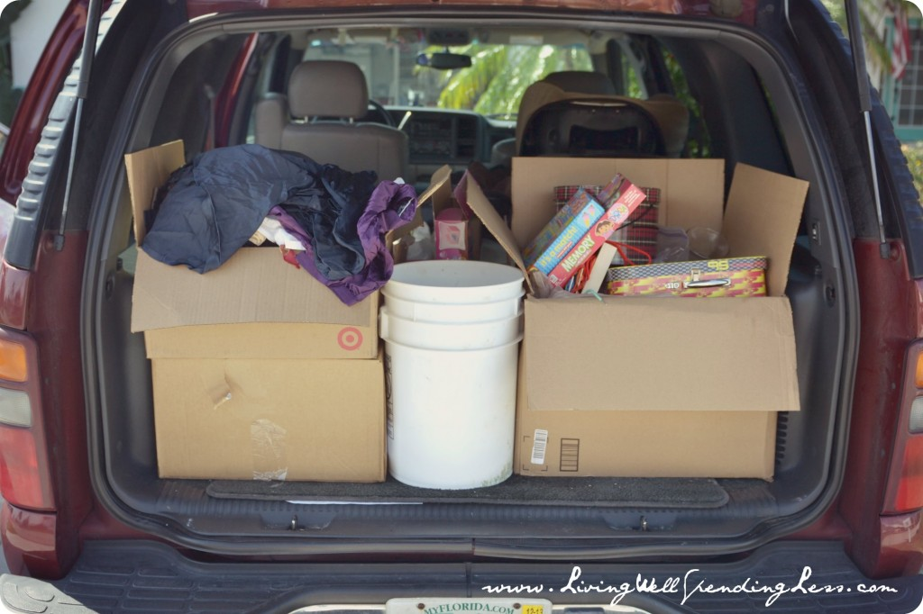 Pack up the items you don't want into boxes and put them in the back of the car so you can donate them right away.