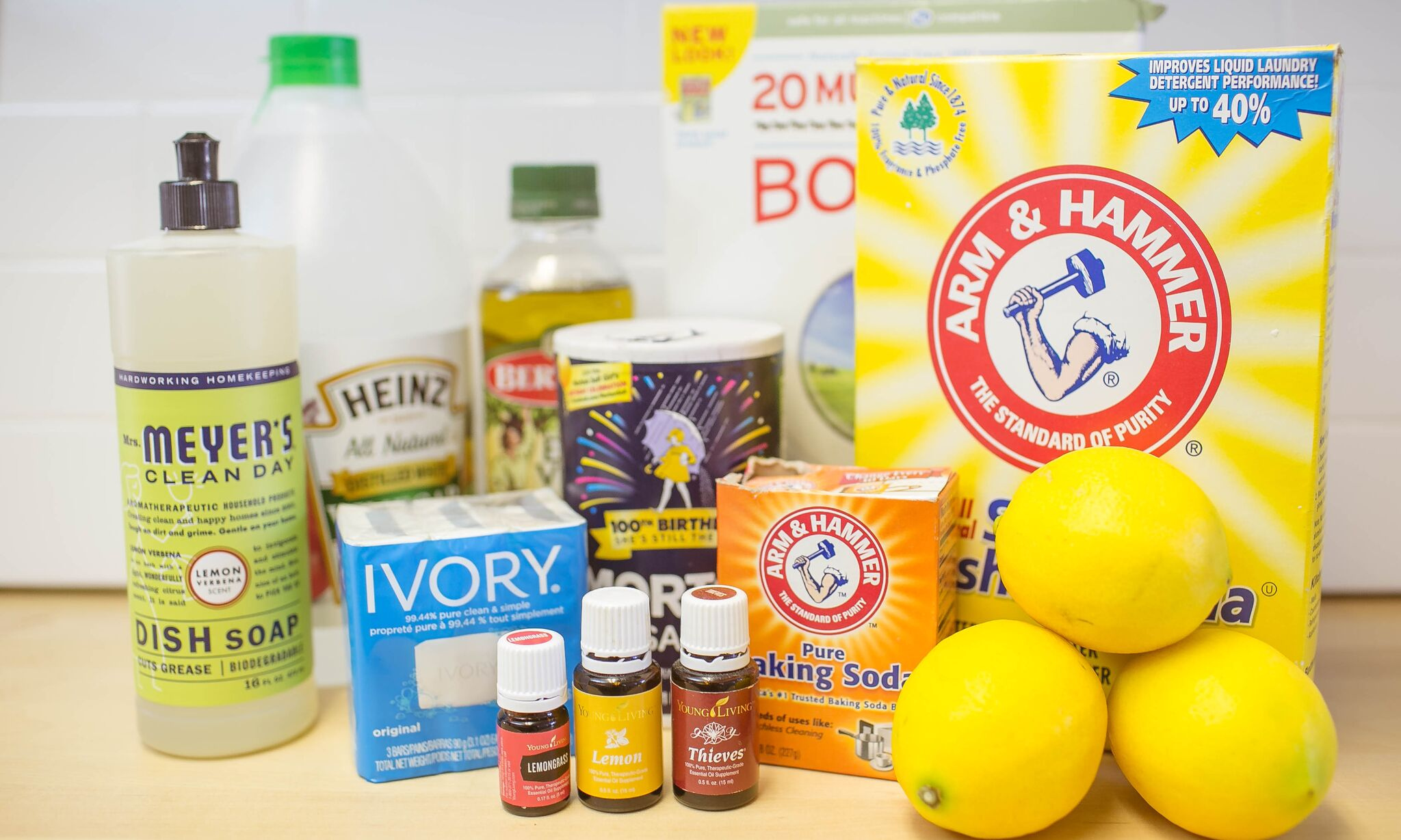 These are all the cleaning ingredients you need to make your own natural cleaners: dish soap, vinegar, lemons, baking soda, salt and oil.