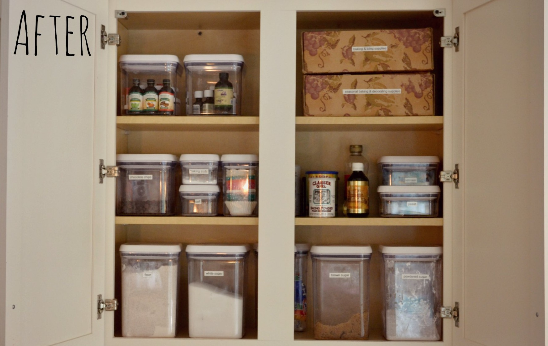 Organized baking cabinet living well spending less for Deep clean kitchen