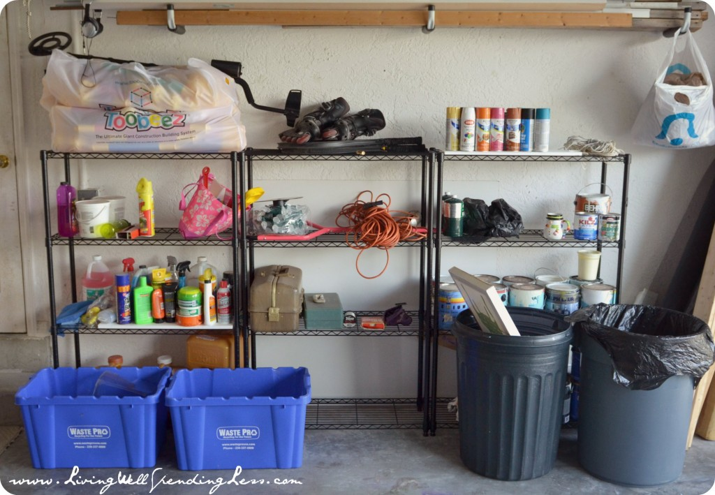 Get a handle on your garage clutter by organizing items neatly on a shelf and tossing out what you don't need.
