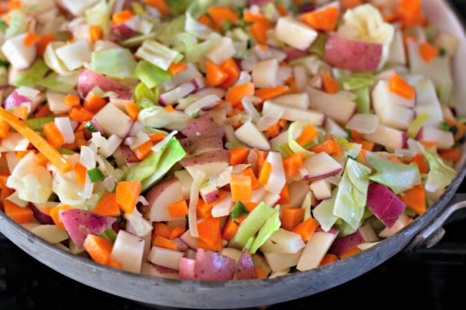 Suda tus verduras