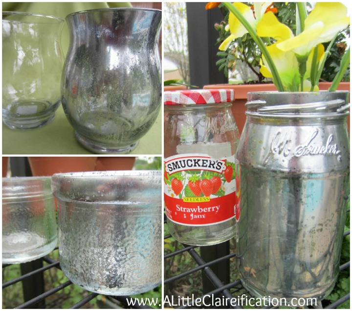 You can transform just about any clear glass with this easy DIY mercury glass tutorial - a jelly jar, mason jar, or mini hurricane glass!