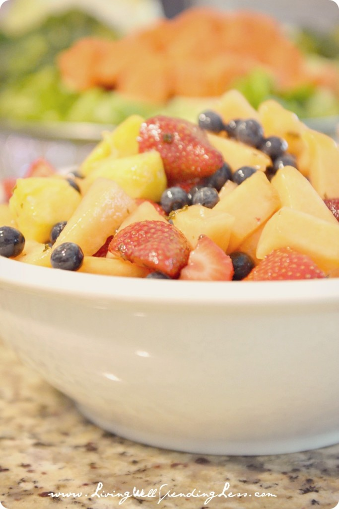 Sunday Brunch Ideas - simple fruit slad with mint syrup