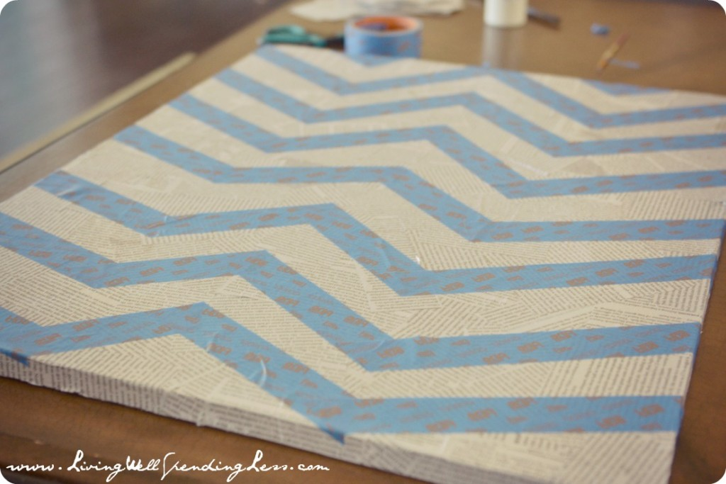 Repeat the zig zag pattern for the rest of the canvas- no need to be precise