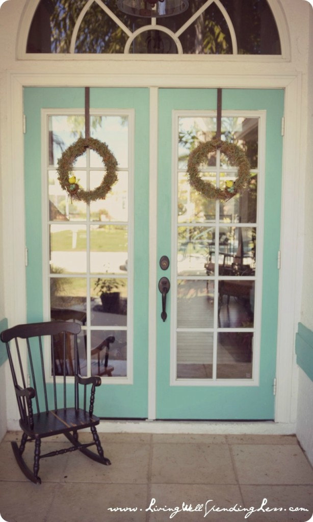 Display finished moth wreaths on doors.