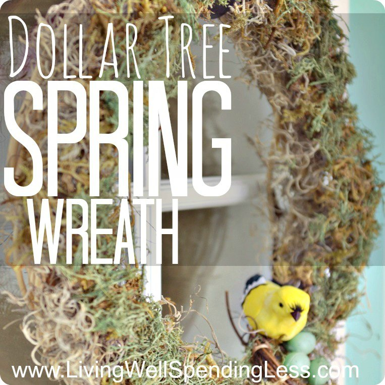 Dollar Tree spring moss wreath.  SO cute!  This darling wreath cost less than 7 dollars to make using supplies found at the dollar store.
