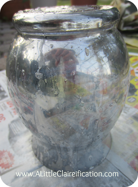 here is the result of one coat of spray paint and vinegar solution on this diy - How To Make Mercury Glass