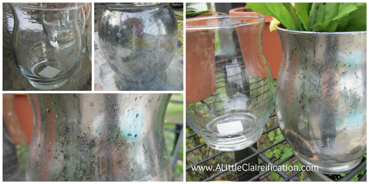 before in progress and after two coats of spray paint this diy mercury - How To Make Mercury Glass
