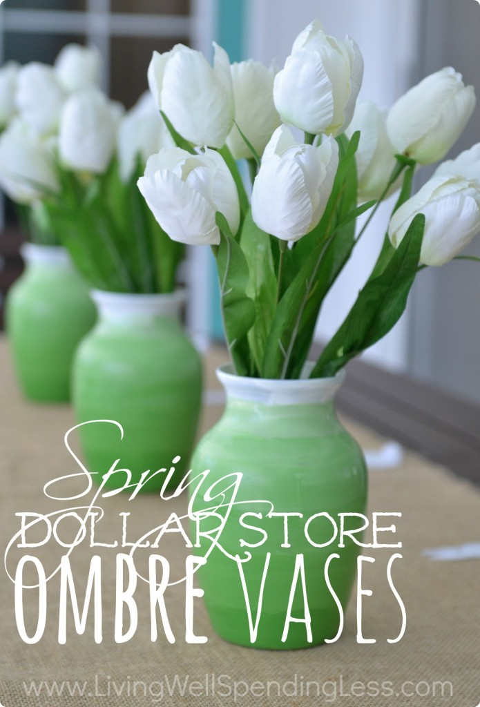 Spring dollar store ombre vases