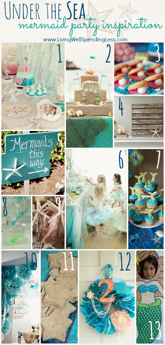This mermaid party inspiration board with a beach themed cake, blue tablecloth and more are great for an under the sea party.