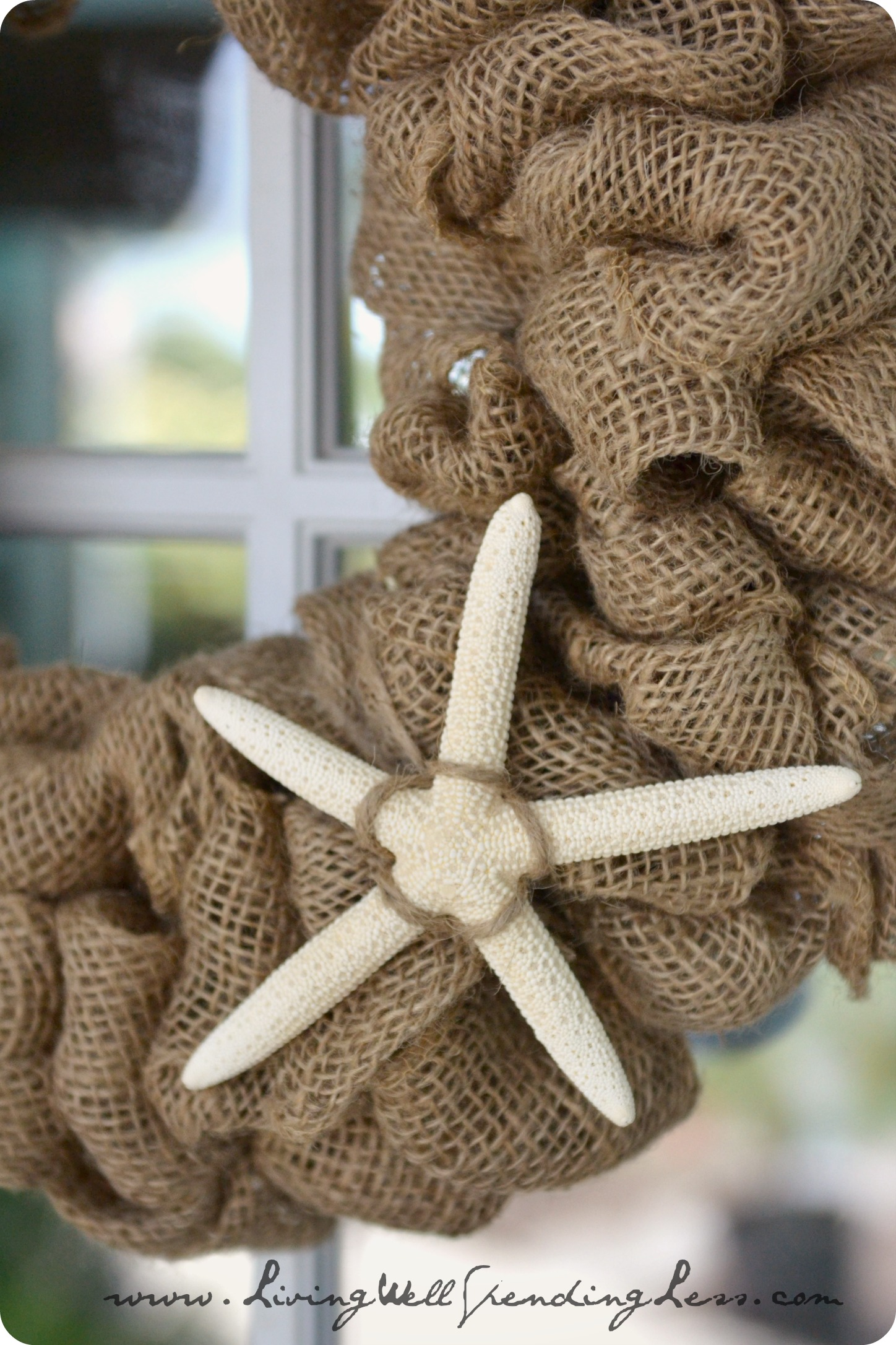 Burlap and starfish make adorable wreaths for the doors. These are so easy to make.