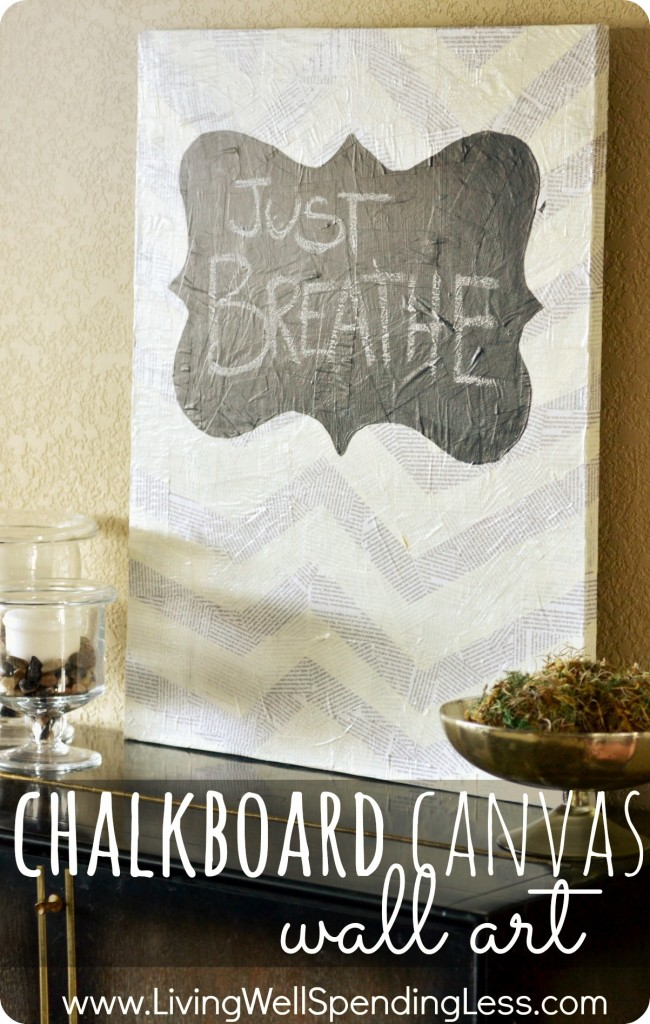 Chalkboard Canvas Wall Art--really cool project using decopage magazine pages & chalkboard paint.  There is SO much you could d