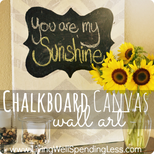 Chalkboard canvas wall art--really cool mixed media project!