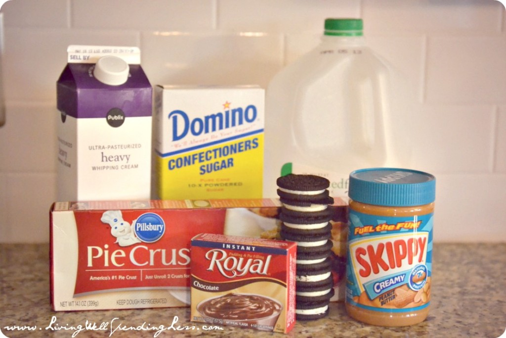 Quick & Easy Chocolate Peanut Butter Oreo Pie ingredients