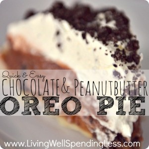 Quick Easy Chocolate Peanut Butter Oreo Pie | Peanut Butter Pie | Chocolate Peanut Butter Pie Recipe | Peanut Butter Chocolate Dessert Recipe | Oreo Peanut Butter Cup Pie