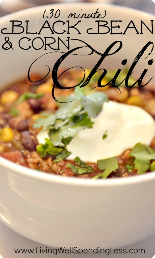 Looking for a hearty chili recipe that can easily be made vegetarian? This 30-minute corn and black bean chili recipe is the perfect warm, hearty chili recipe for a cold winter day. Easily make this recipe vegetarian by swapping out protein crumbles for a delicious meatless meal packed with flavor!