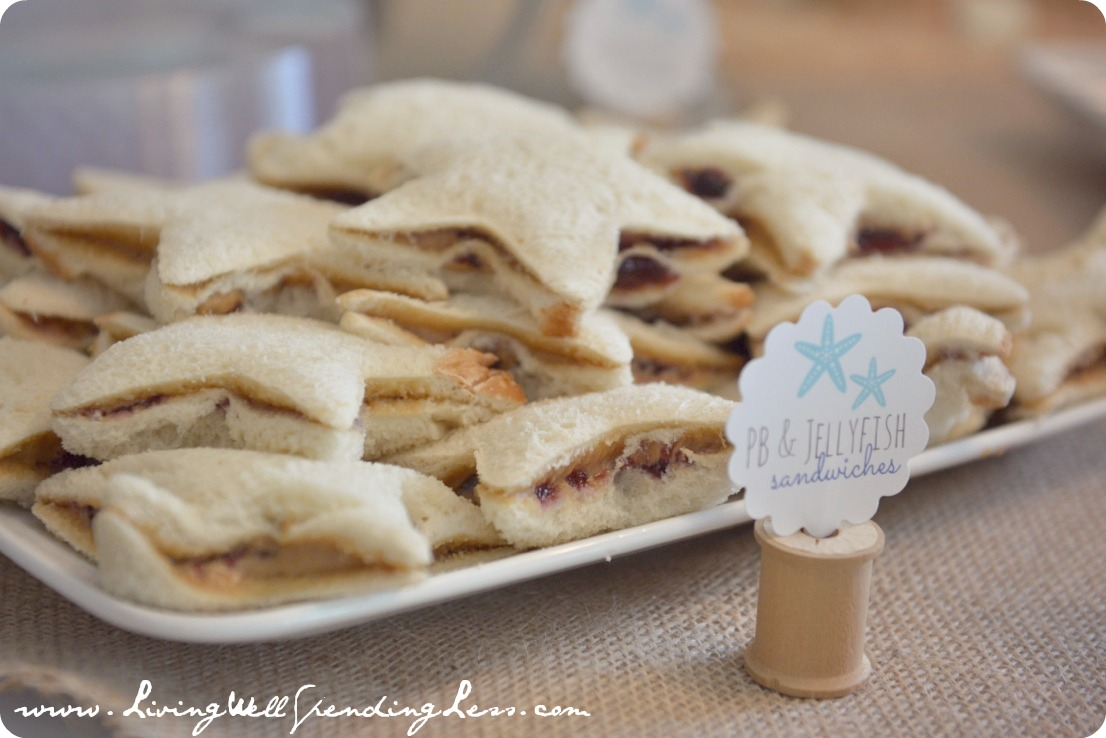 "These peanut butter and jelly ""fish"" sandwiches were loved by all the kids at the party."