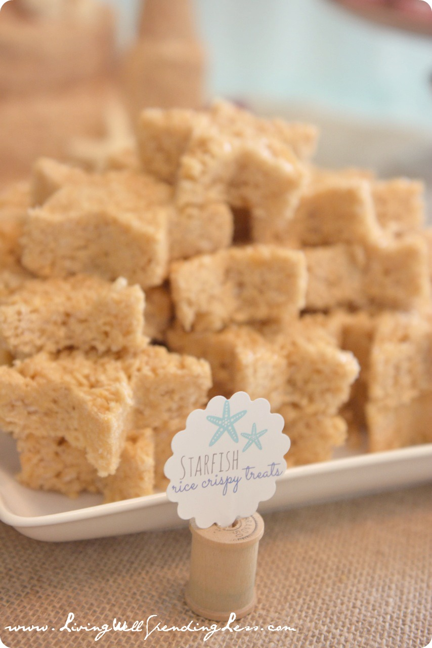 Starfish rice crispy treats were a huge hit among the party guests.