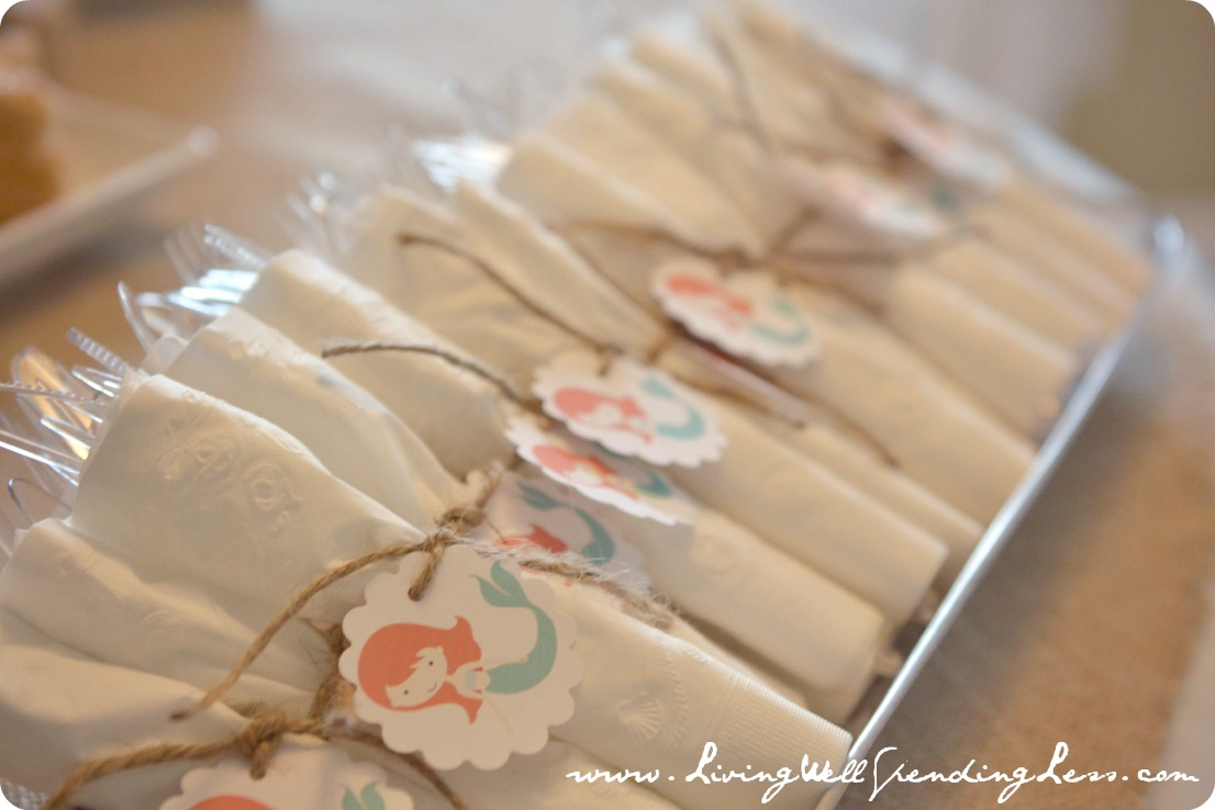 Each napkin was tied with a cute mermaid printable tag and twine to keep everything together.