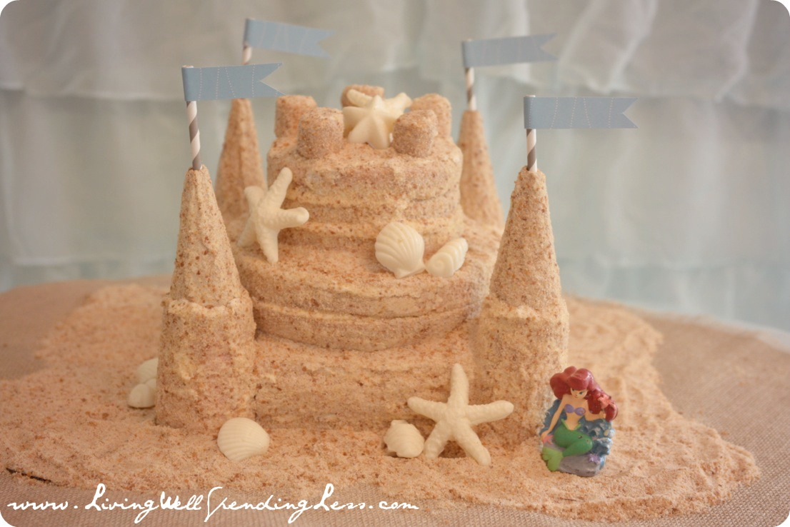 Sandcastle Cake for a Beachy Mermaid Party