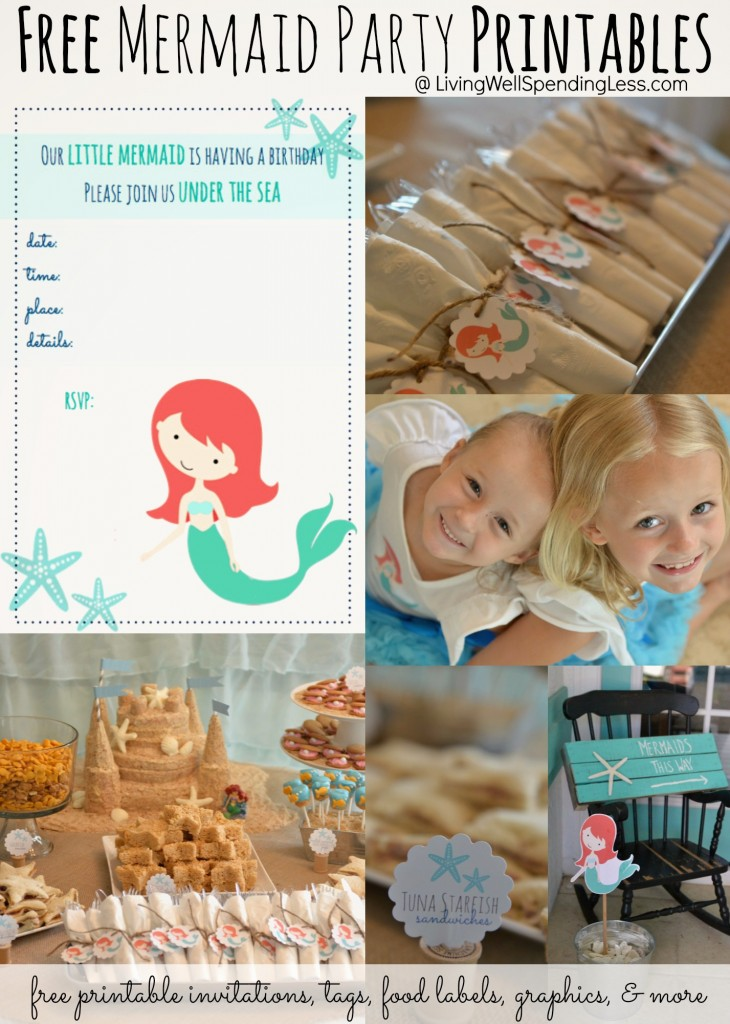 Free Mermaid Printables | Mermaid Printables | Free Printables | Mermaid Themed Printables | Party Printables | DIY Mermaid Themed | Under the Sea | Under Water | Beachy Mermaid Party | Kids Party Ideas | Mermaid Invites | Mermaid Toppers | Party Food Labels | Free Downloads