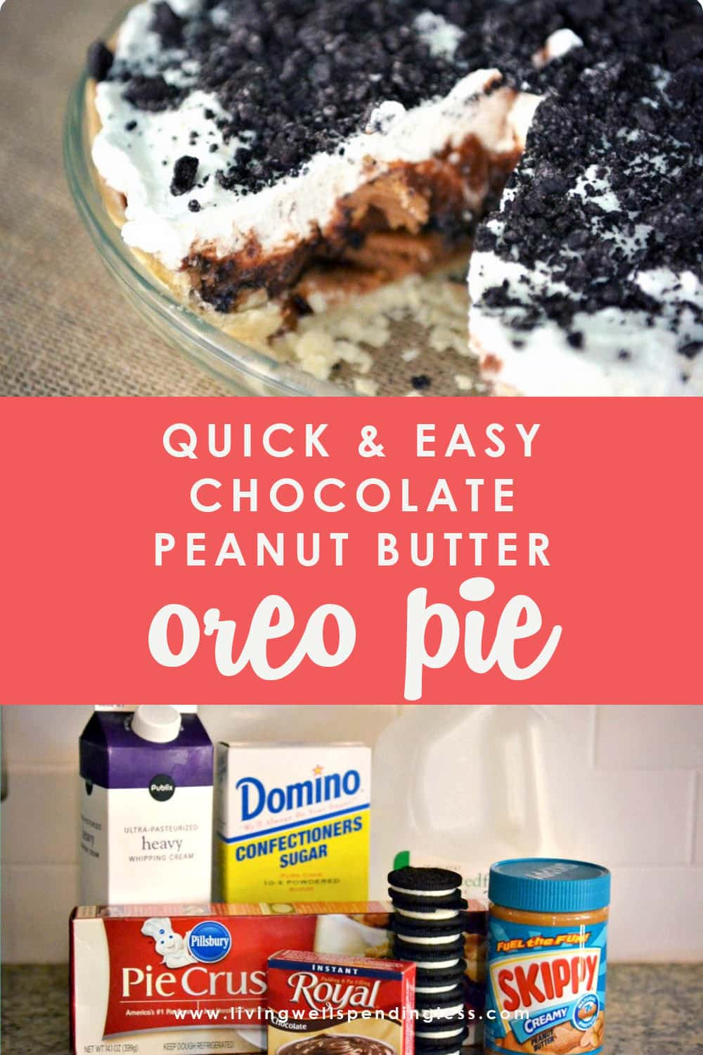 Looking for a decadent dessert? This chocolate peanut butter Oreo pie comes together in just a few minutes and is a sweet treat everyone will devour! #quickeasychocolatepie #dessert #pie #chocolatepeanutbutterpie