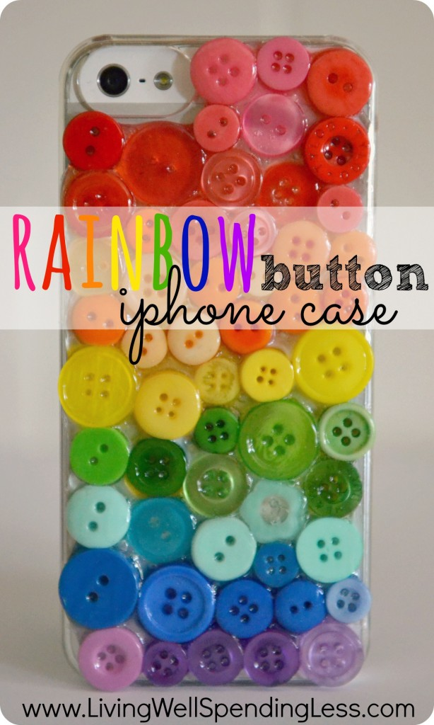 Rainbow Button iPhone Case.  This is so cool!  Make a custom iPhone case with just a $5 clear generic cover & some spare buttons.  Great gift idea!