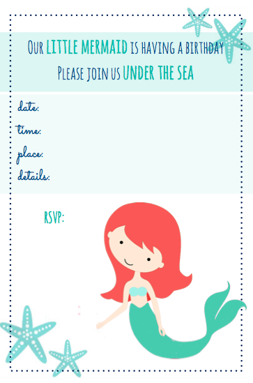Revered image throughout mermaid birthday invitations free printable