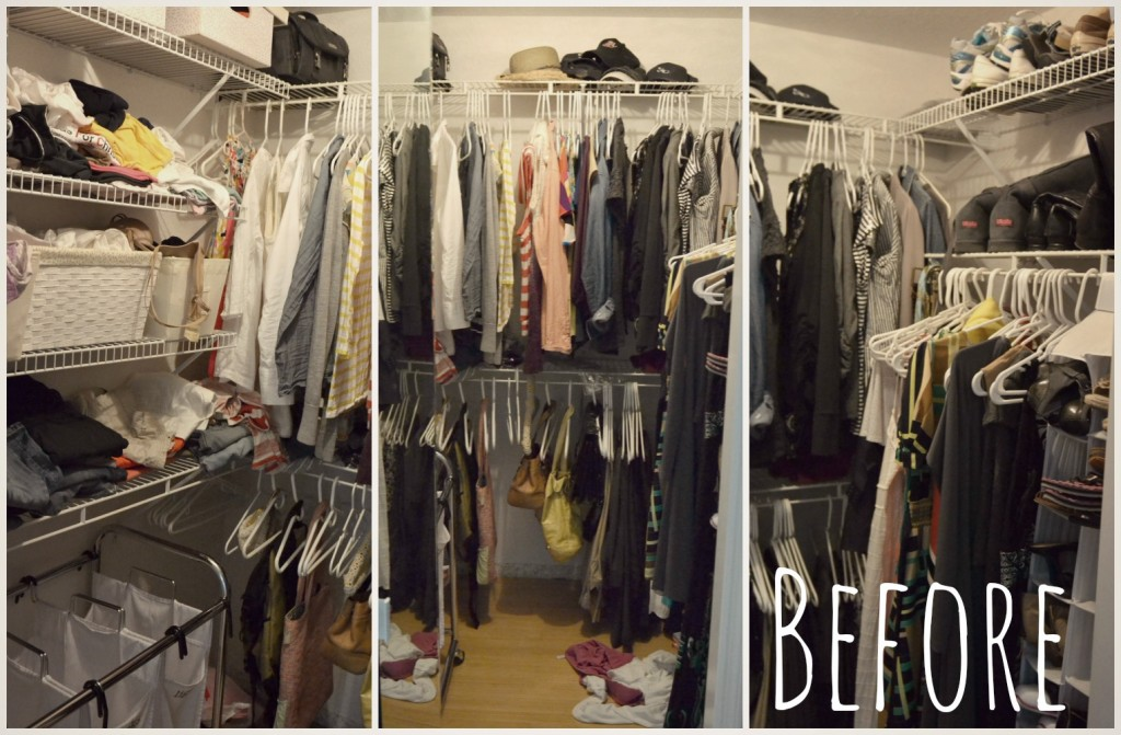 Three views of my disorganized closet, before I took on the 40 Hanger Closet plan.