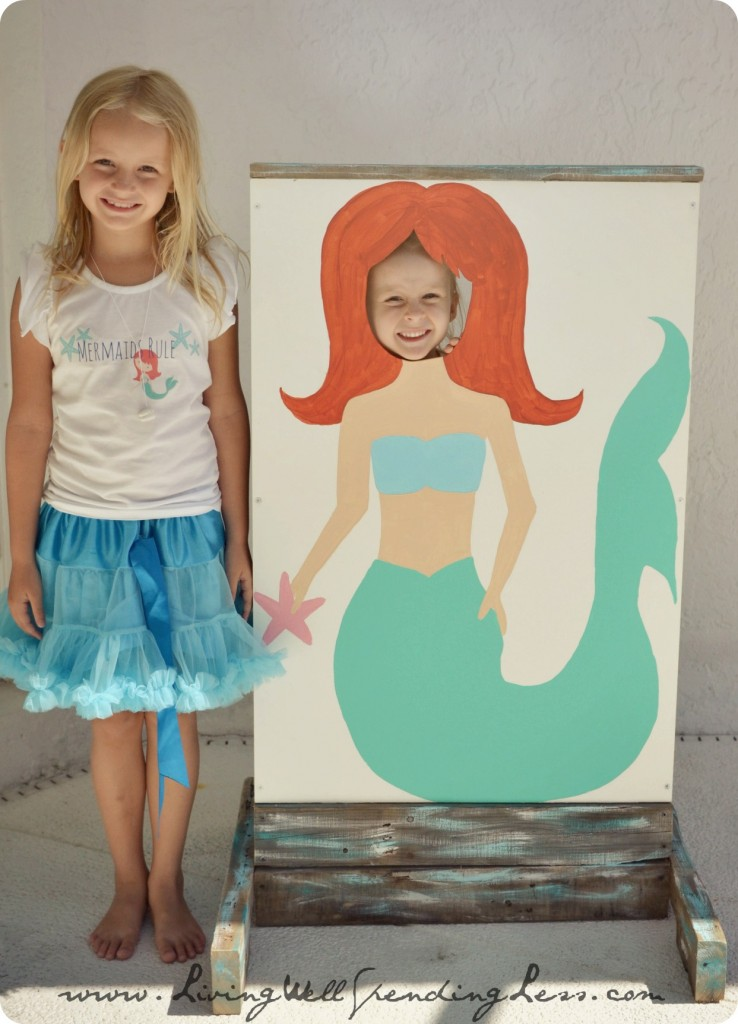 Beachy mermaid party living well spending less a photobooth complete with mermaid cutouts is a great addition to the party solutioingenieria Image collections
