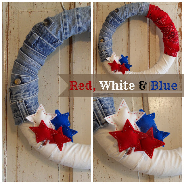 4th of July wreath tutorial collage