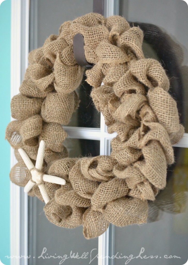 Hang your newly finished DIY burlap wreath with a wreath hanger on any door or window.