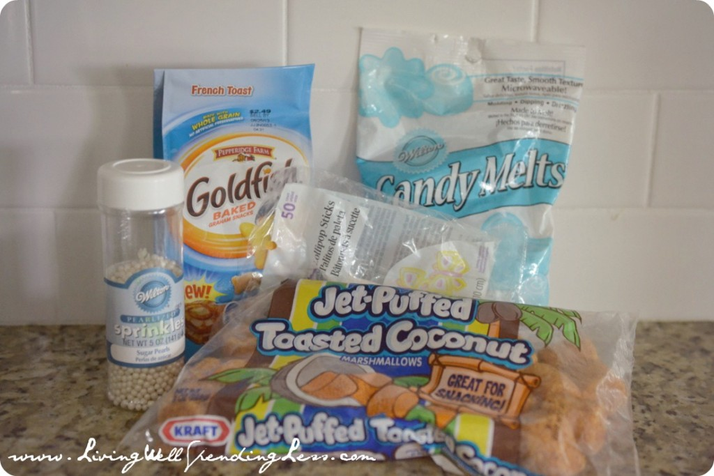 According to the goldfish marshmallow pops tutorial, you only need these few ingredients!