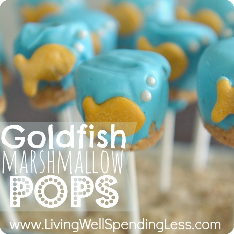 Check out this fun goldfish marshmallow pops tutorial!