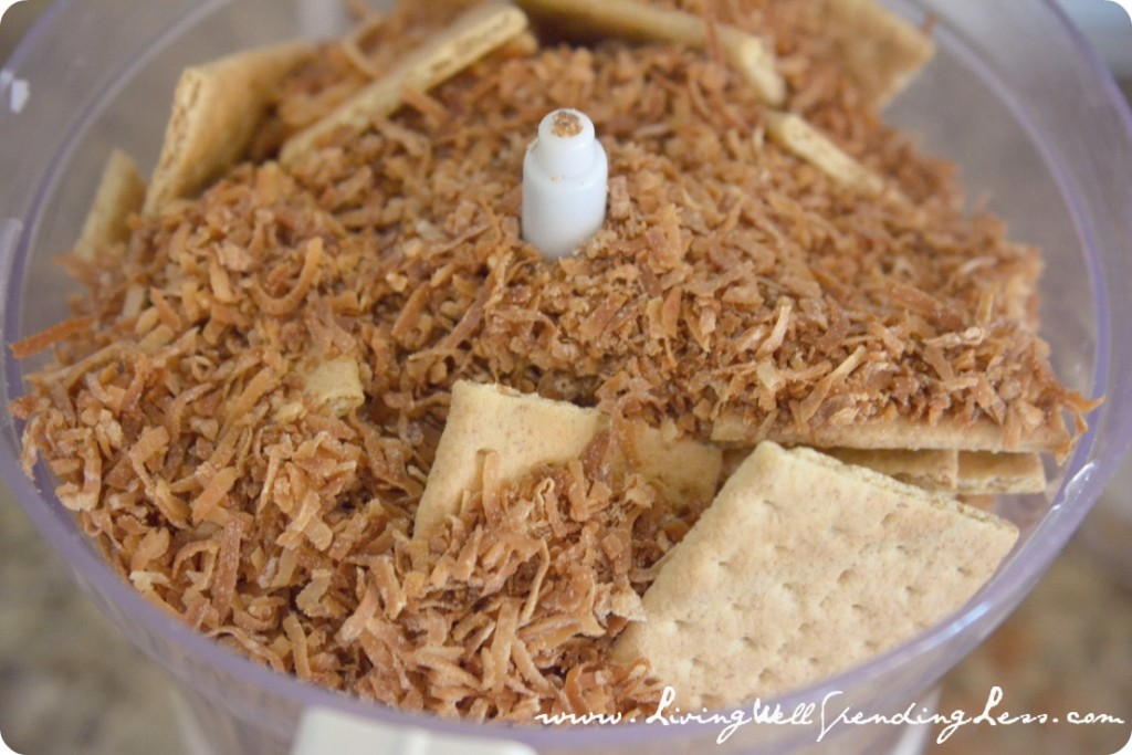 Pulse graham crackers and toasted coconut in the food processor to make the sand for your cake.