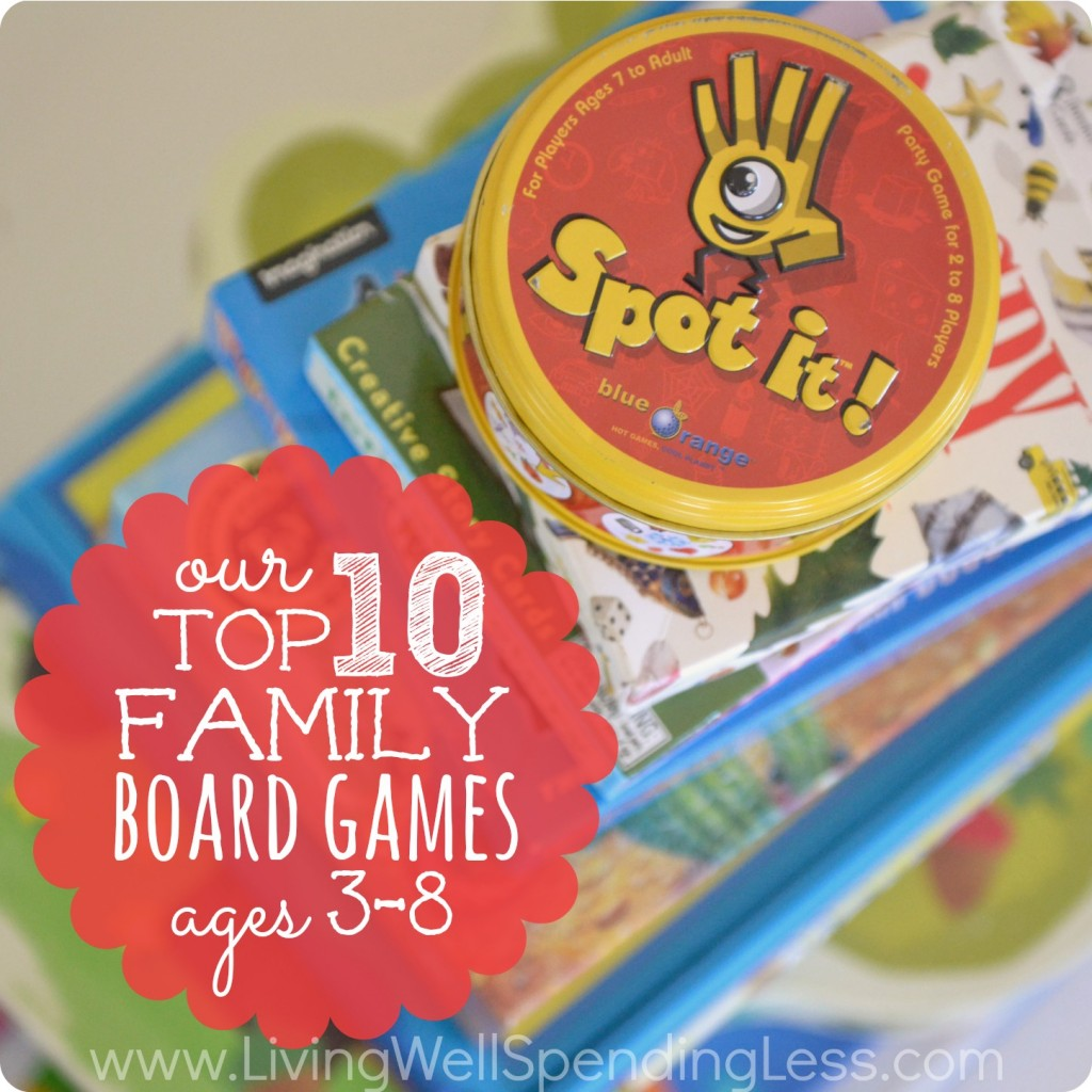 Our Top 10 Family Board Games.  Awesome review of ten GREAT games for ages 3 & up that are fun for both kids and adults.