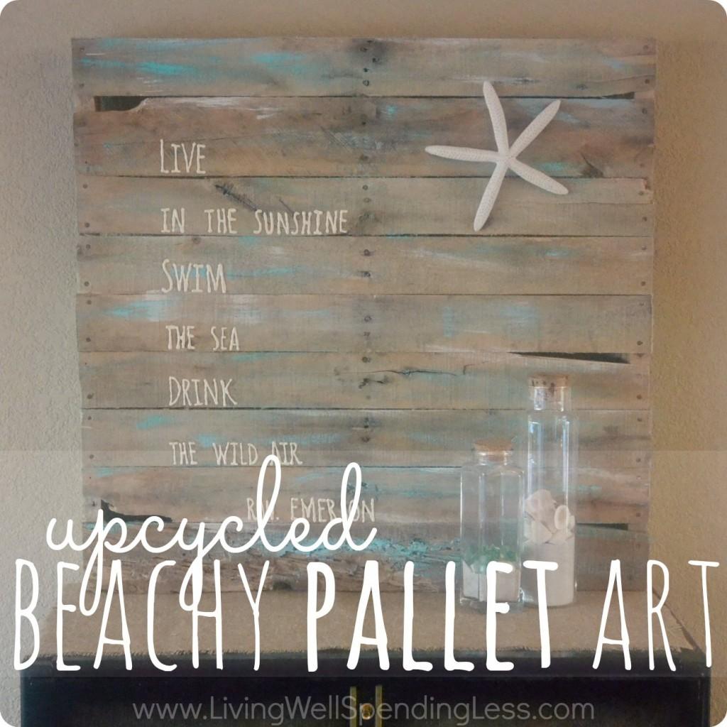 Pallet Art Diy Beachy Upcycled Pallet Art Living Well Spending Lessar