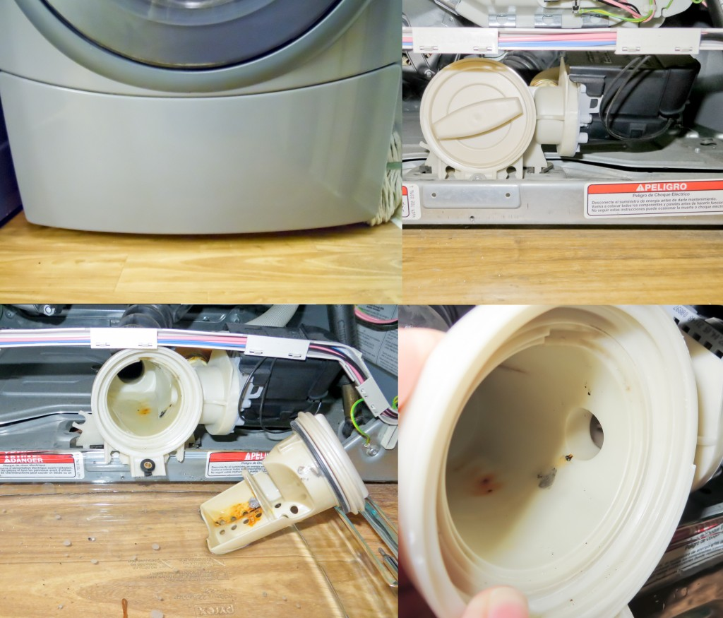Various steps of unclogging a washer drain filter.