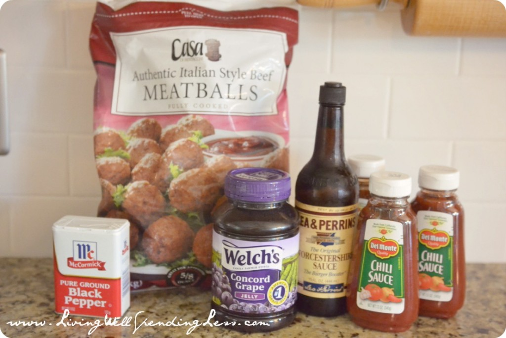 To make these sweet and sour meatballs, you'll need frozen meatballs, grape jelly, Worcestershire sauce, chili sauce and pepper.