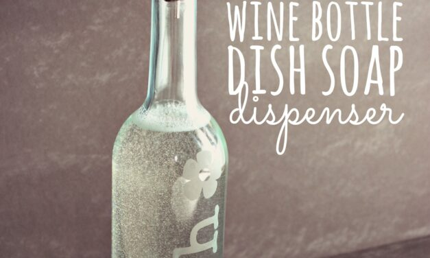 DIY Etched Wine Bottle Dish Soap Dispenser