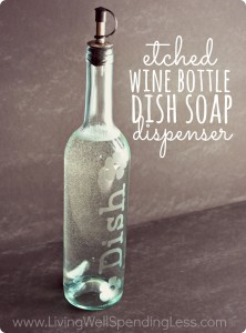 Diy etched wine bottle soap dispenser. i never knew glass etching was so easy  222x300