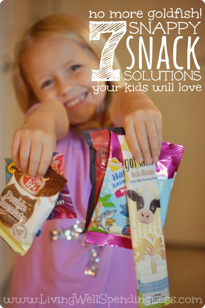 No More Goldfish! 7 snappy snack solutions your kids will love!  Are your kids getting tired of the same old snacks  7 awesome (and super easy) ideas for breaking out of the snacktime rut.  Love these!