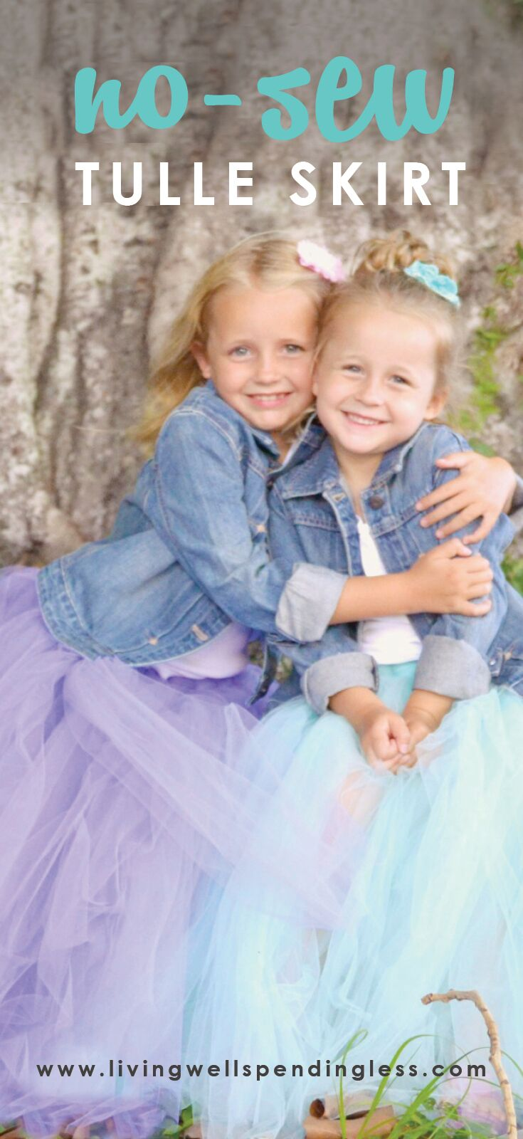 Even if you don't sew, you can make these darling full tulle skirts; perfect for your next family photo!