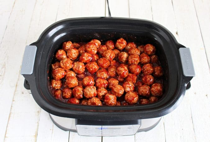 Pour in frozen meatballs and gently stir until all meatballs are coated in sauce.