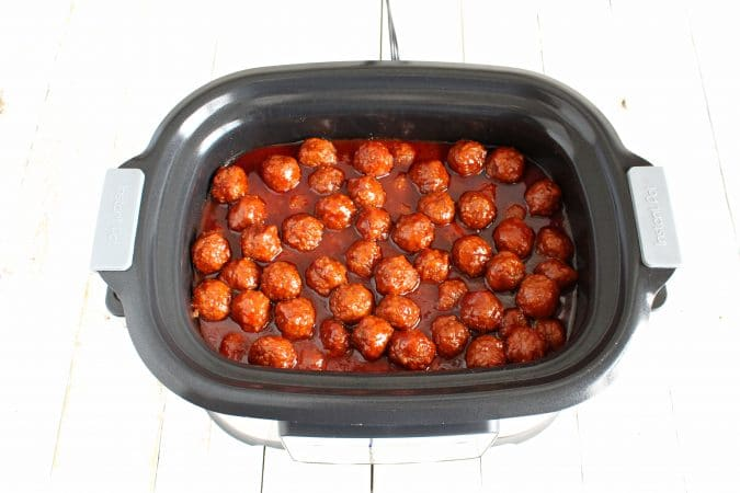 Turn crockpot on low for 6-7 hours or high for 3-4 hours. (We prefer the low heat longer cooking option!) Be sure to stir meatballs occasionally, if possible.