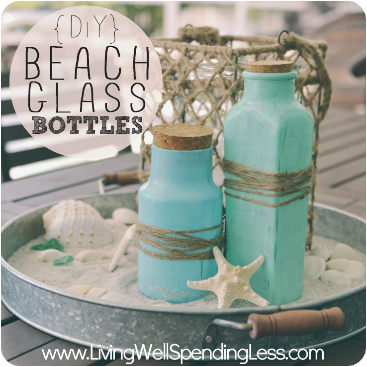 DIY Beach Glass Bottles | How to Make Sea Glass Bottles | DIY Sea Glass Bottles | Beach Decor | DIY Sea Glass Vases | DIY Faux Sea Glass Bottles- Repurposed Glass