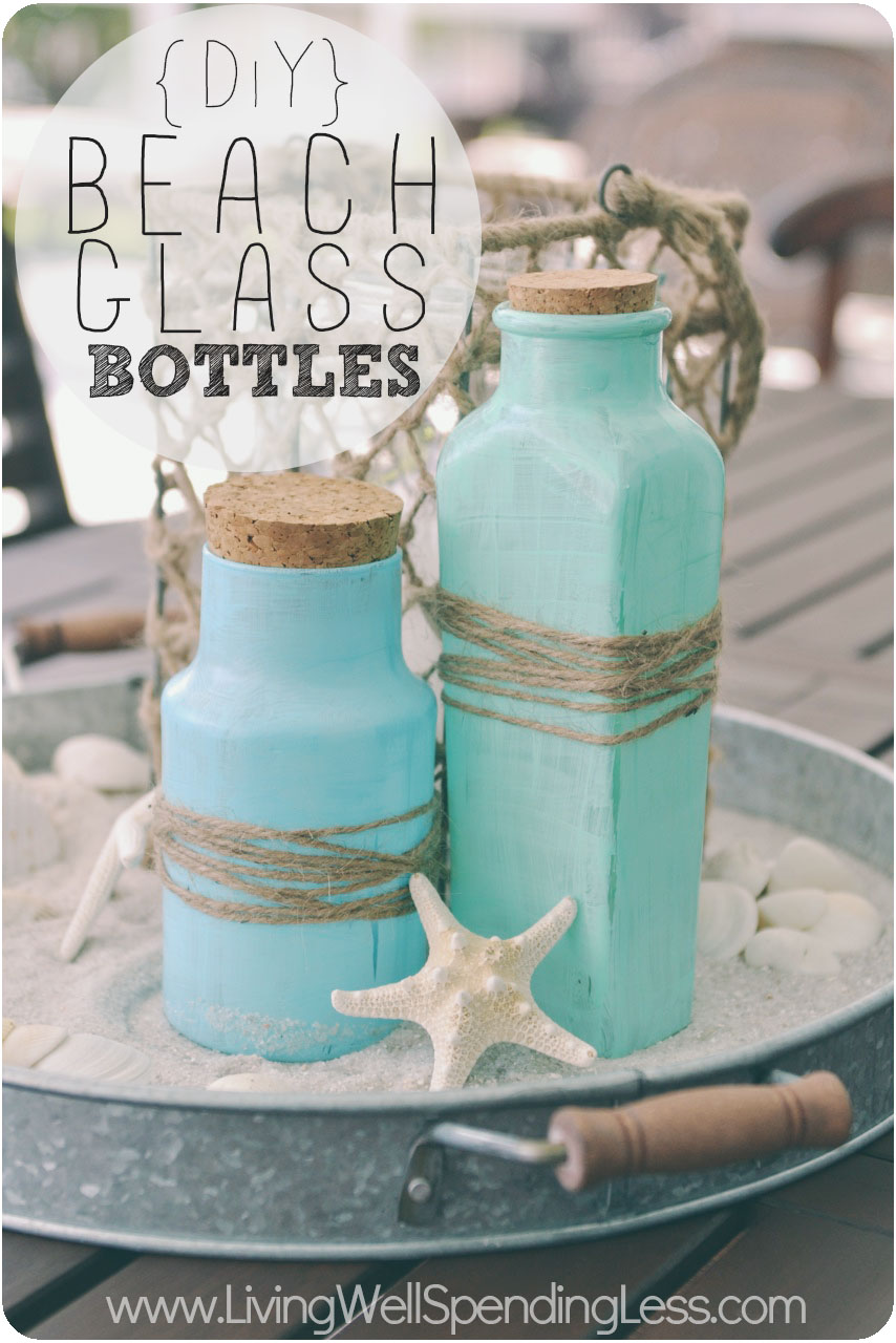 Diy beach glass bottles cute and easy project to make your own beach